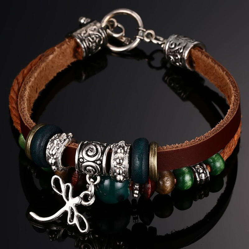Dragonfly Charm 3-Strand Wrap Leather Bracelet with Beads Adjustable Bohemian Women Wristband Braslet Brackelts Armband Jewelry