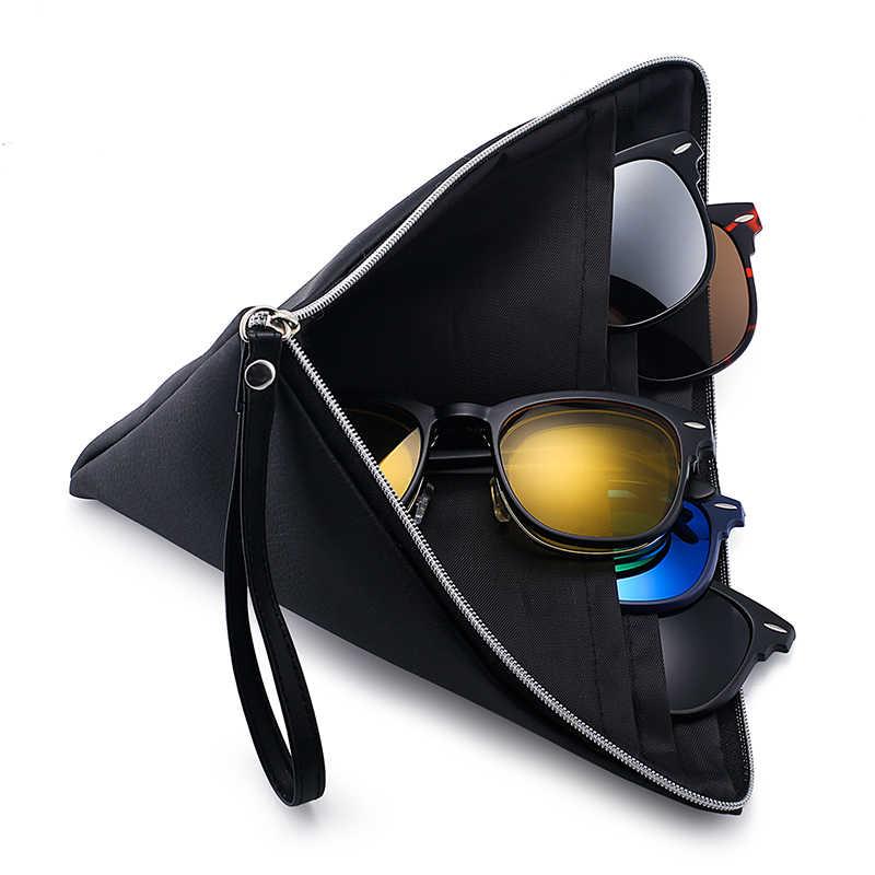 ece0540c43 ... Jim Halo Magnetic Lens Shades 5Pcs Polarized Clip-on Sunglasses Plastic  Frame for Night Driving ...