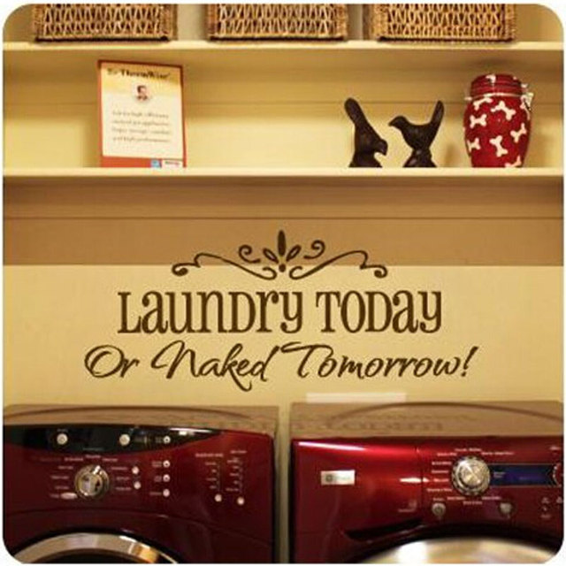 Laundry Today Naked Tomorrow Laundry Room Wall Art Decal Sticker Quote  Removable Vinyl Wall Stickers Home