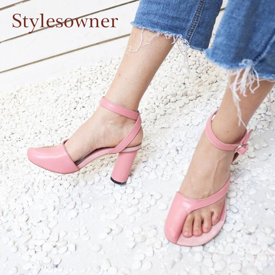 Stylesowner new design pink genuine leather gladiator sandals women chunky high heel strange clip toe ankle strap summer shoes genuine leather chunky heel gladiator ankle wrap women summer sandals 2015 new lady fashion peep toe shoes size 34 39 sxq0921