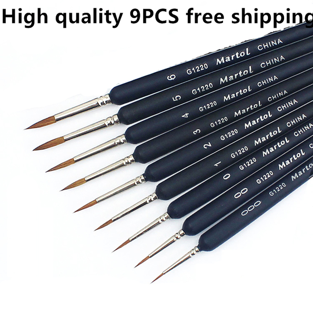 9pcs Watercolor Painting Line Art Brushes Nail Art Brush Calligraphy