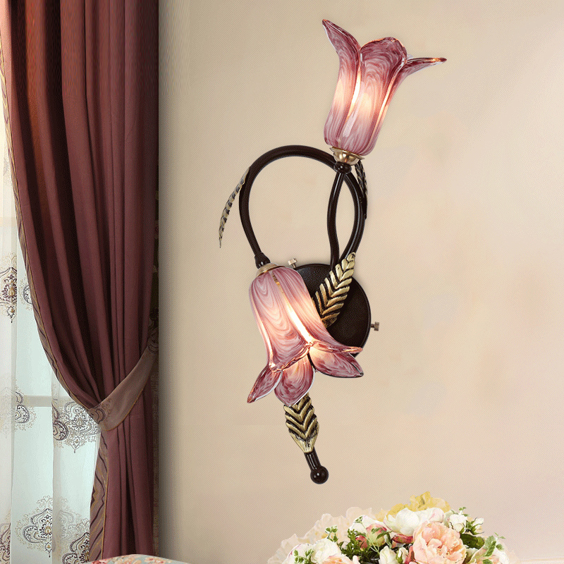 Flowers Shape of Iron Wall Lamps Bedroom Bedside Wall Sconce Country Side Wall Lamp Hallway Wall Lighting Background Living Room|LED Indoor Wall Lamps|Lights & Lighting - title=