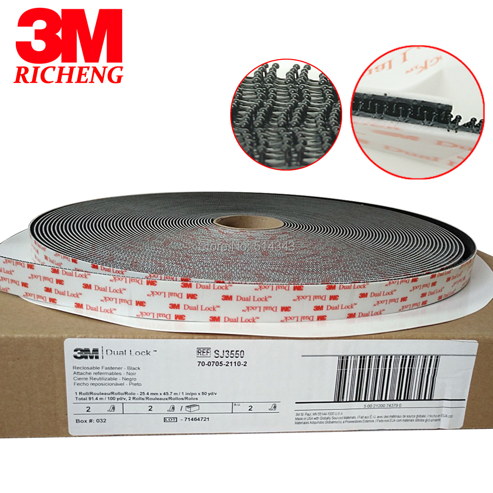 3M SJ3550 Black Acrylic Double Sided Tape 1in *50yards One Roll Adhesive Tape