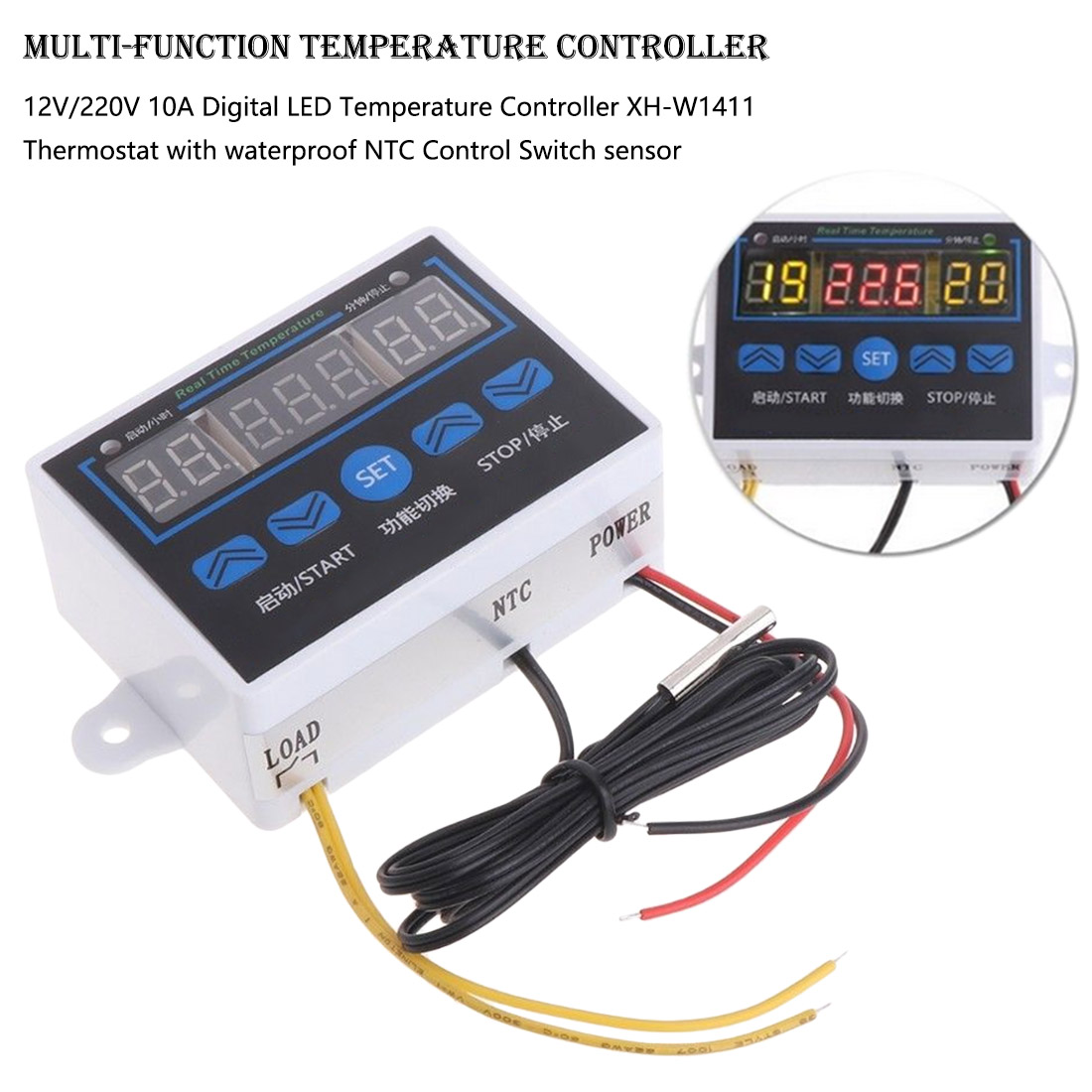 Digital Thermostat Temperature Controller Temperature Control Switch -19~99 with Waterproof NTC Sensor12V 220V 10A