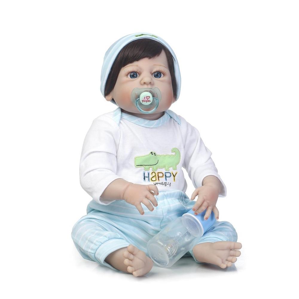 Hot! 56cn Reborn Baby Boy Doll Toy Full Body Soft Silicone Vinyl Handmade Lifelike Doll Bebe Reborn Kids Playmate Gift for Girls цена