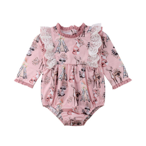 c48638f44e newest USA Lace Newborn Baby Girls long sleeve cute Floral Animal Print Romper  Jumpsuit Outfits Clothes