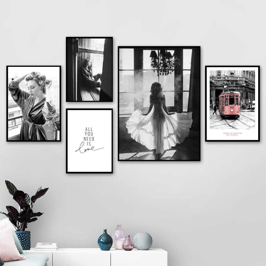 Paris bus building wall art canvas painting nordic posters and prints black white wall pictures for living room decor on aliexpress com alibaba group