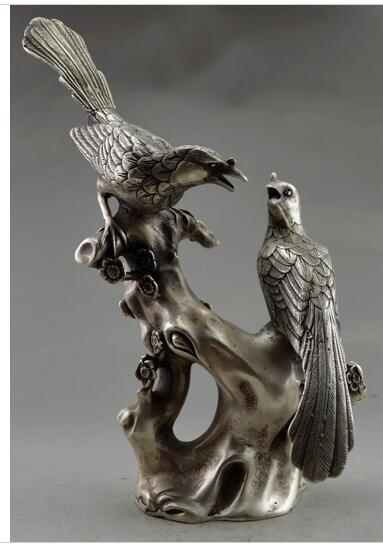 decoration copper silver factory outlets 9Collectible Decorated Old Handwork Tibet Silver Carve Pair Magpie On Tree Statue