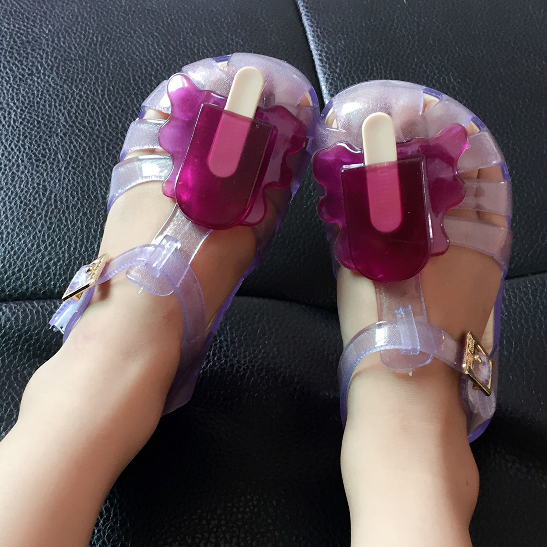 Mini Cute Childrens Shoes New Scented Melting Popsicle Clear Jelly Shoes Baby Kids Slipp ...