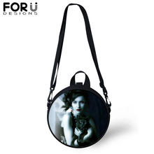 FORUDESIGNS Gothic Girls Round Shoulder Bag Women Vintage Dark Art Print Black Circular Messenger Crossbody Teenager Satchel