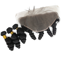 Свободная волна бразильский Реми натуральные волосы Связки 3 с синтетический Frontal шнурка волос 13x6 двойной уток волос Швейцарский синтетиче