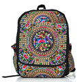 National Trend Chinese Style Women Handmade Flower Embroidered Canvas Embroidery Ethnic Backpacks Canvas Backpacks