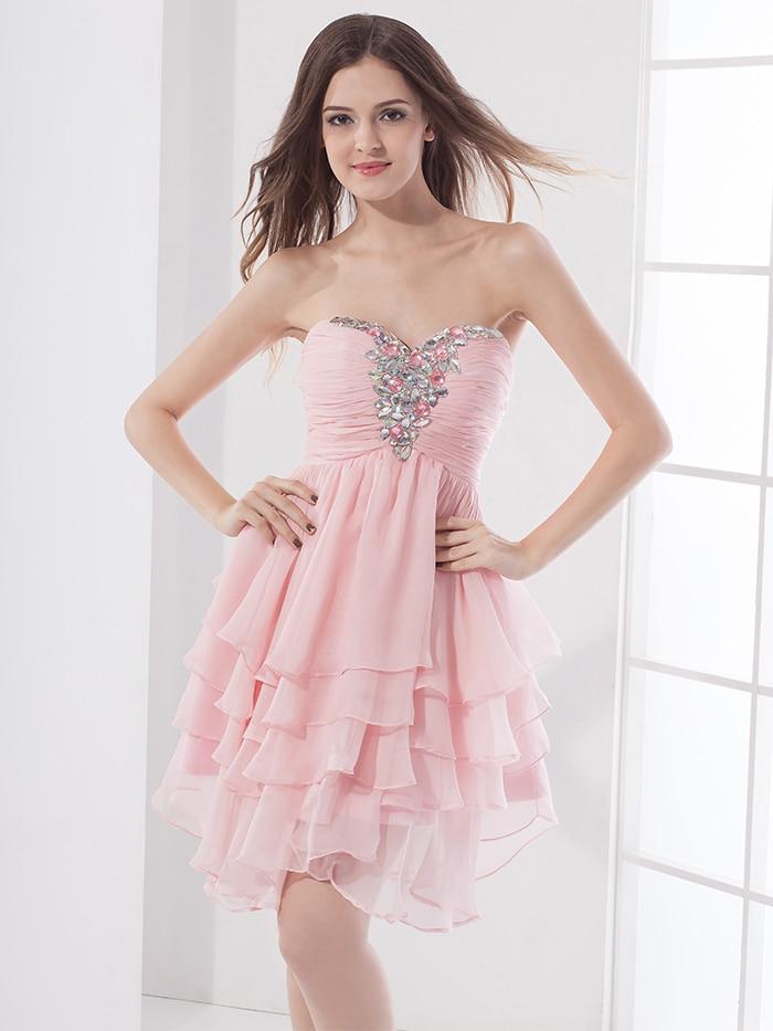 2016 New Cheap Short Cute Pink Prom Chiffon Petite Sweetheart 5th ...