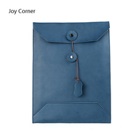 Blue A4 Leather Office Folder For Documents A Case For Documents Cow Leather File Organizer Folders