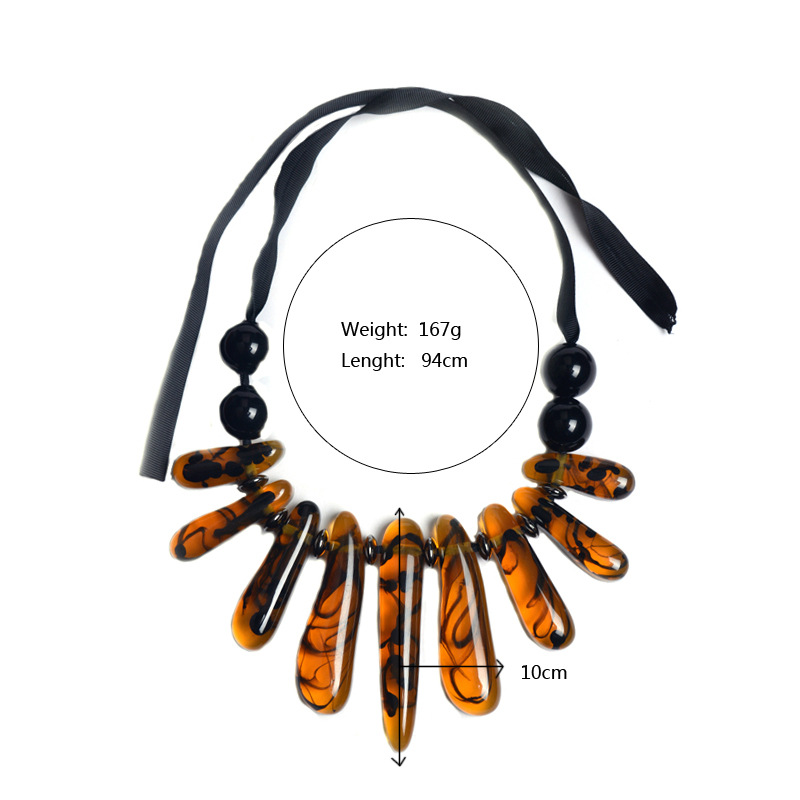 Resin Brown Color Stone Ribbons Pendant Necklace For Women Teardrop Necklace 2018 New Fashion Wholesale Jewlery