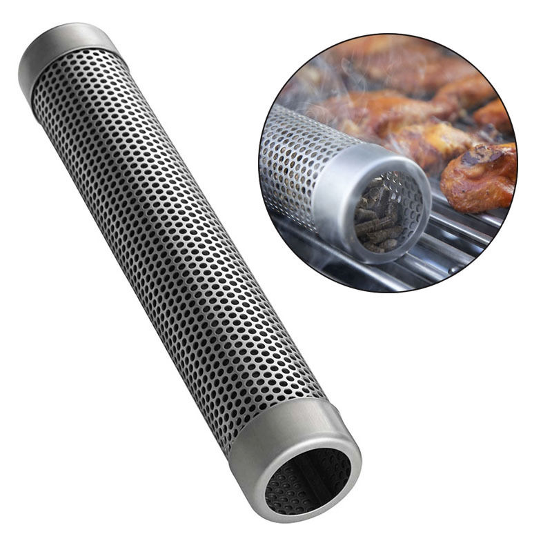 6/12 Stainless Steel Round Sqaure Pellet Tube Smoking Mesh Pipe Kitchen Outdoor Cooking Tools Accessories Beans Peanut BBQ image