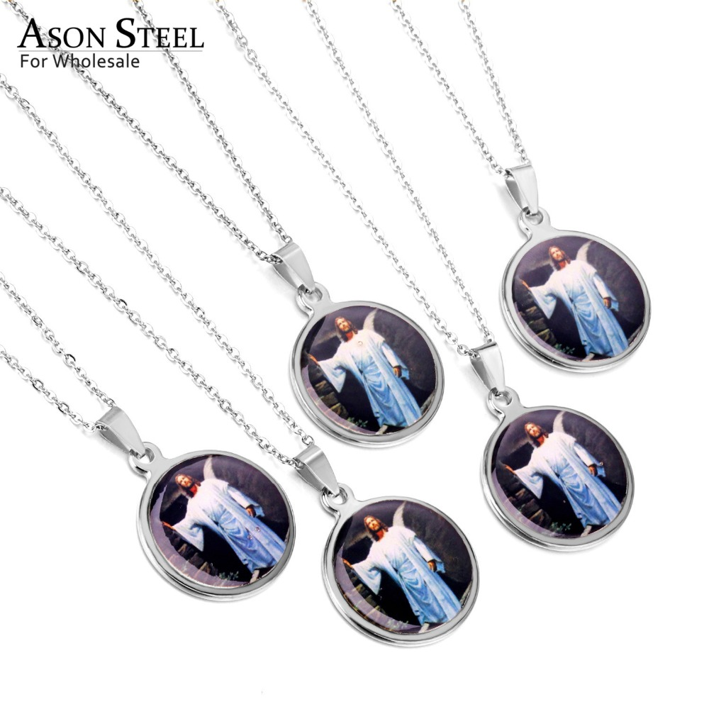 ASONSTEEL 5 PcsLot Wholesale Stainless Steel Silver Jesus Piece Pendant & Necklace Chain For Men Gift Vintage Christian