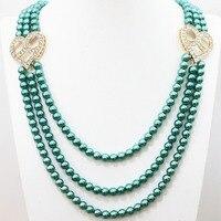 New mix-цвет имитация оболочки жемчужина 3 ряда 8 мм круглые бусины сердца аксессуары хрусталя special ожерелье 28-32 дюймов B1188
