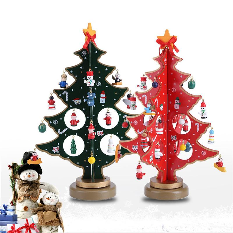 30CM Mini Miniature Christmas Ornaments Wooden Tree Desktop ...