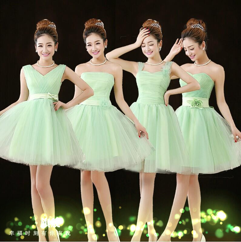 Lc070m Light Green Bridesmaid Dresses Short Prom Ball Gown Knee Length Xl Under 50 Vestidos In From Weddings