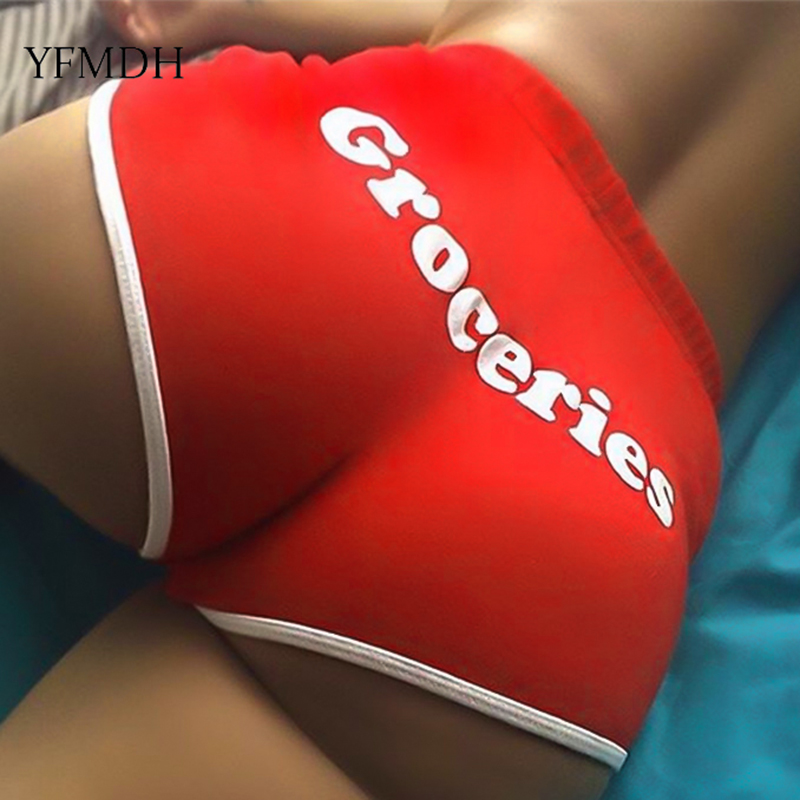 GROCERIES Letter Print Female Cotton Workout   Short   Pants 2019 Summer Sexy Club Women Solid Color Skinny Fitness Push Up   Shorts