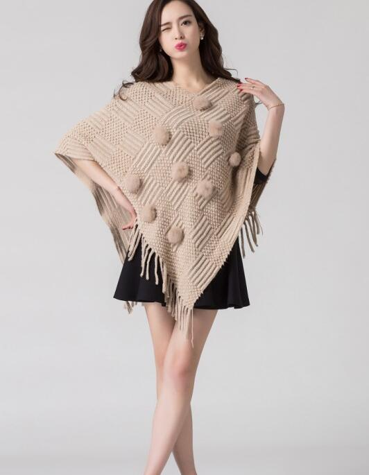 Winter Women Warm Coat Fashion Female Tassel Cloak Shawl O Neck Bat Wing Sleeve Outerwear Girl Pullover Sweater in Pullovers from Women 39 s Clothing
