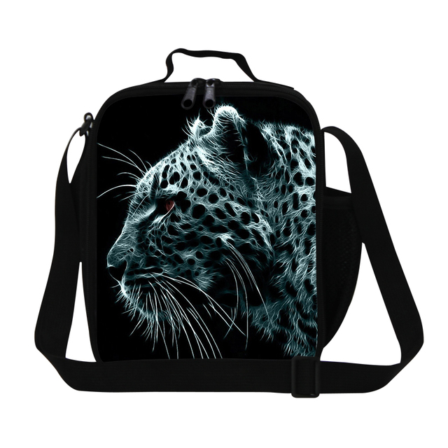 Dispalang Leopard Lunch Cooler Bags for Boys Insulated Lunch pack Messenger Panda Tiger Bird Thermal Bag for Lunch Box Children