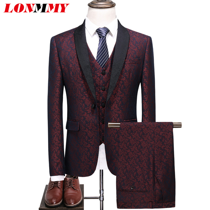LONMMY Suits &blazer mens clothing Jacket+Pants+Vest Floral blazer men stage Plaid Slim fit Casual wedding suits for men 3 Piece