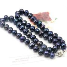 Al por mayor! negro de agua dulce collares de Perlas 8-9mm 18 pulgadas DIY mujeres envío gratuito joyería que hace a mano con cuentas regalos