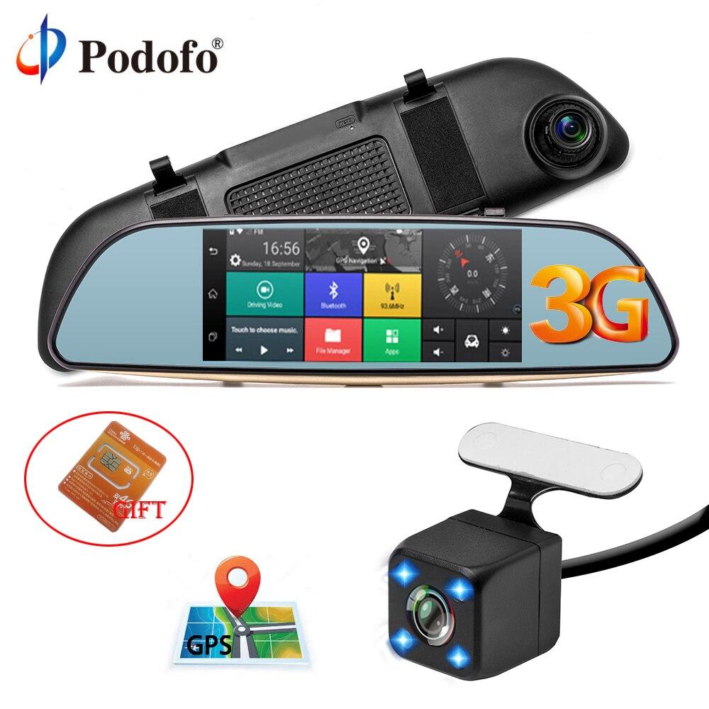 Podofo Car DVR 3G Touch Mirror Camera 5 Full HD 1080P Dash Cam Video Recorder Camera Android 5.0 GPS Rearview Mirror Registrar cu200 7 gps 3g car dvr камера ночного видения dash cam rearview mirror video recorder hd 1080p g sensor loop recording