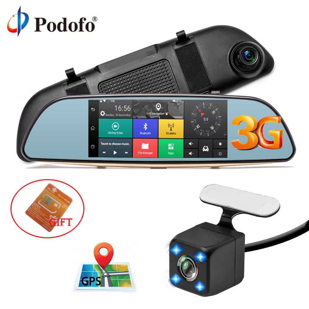 Podofo Car DVR 3G Touch Mirror Camera 7 Full HD 1080P Dash Cam Video Recorder Camera Android 7.0 GPS Rearview Mirror Registrar
