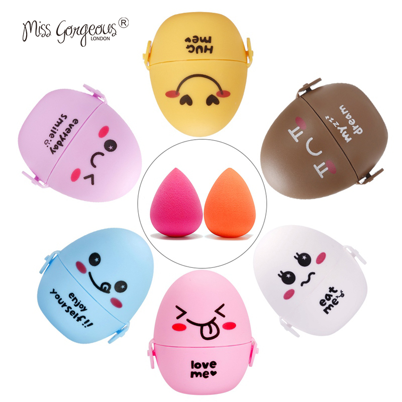 Miss Gorgeous Grow Bigger in Water Makeup Sponge Face Cosmetic Puff Display Stand Make Up Blender Foundation Sponges Egg Holder candy color calabash shaped cosmetic makeup cotton pads sponge puff pink