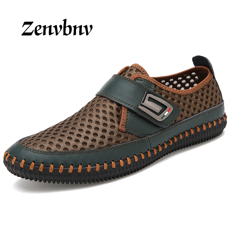 ZENVBNV Breathable Mesh Shoes 2018 Summer Mens Casual Shoes Genuine Leather Slip On Brand Fashion Summer Shoes Man Soft Comfort