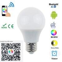 Bluetooth 4 5W LED Bulb E27 B22 RGBW Bluetooth 4 0 Smart LED Light Bulb Timer