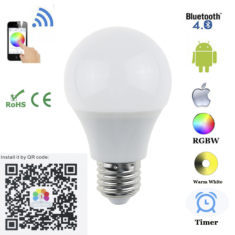 E27 B22 Bluetooth 4.5W  LED Bulb  RGBW Bluetooth 4.0 Smart LED Light Bulb Timer Color changeable by IOS / Android APP for  hotel icoco e27 smart bluetooth led light multicolor dimmer bulb lamp for ios for android system remote control anti interference hot