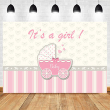NeoBack Gender Reveal Baby Shower Backdrops Girl Carriage Bow Pink Background Photography