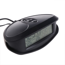 Digital Car Thermometer Luminous LED Table Clock Indoor/outdoor Thermometers Voltmeter Time AlarmBlue Orange Backlight EC98