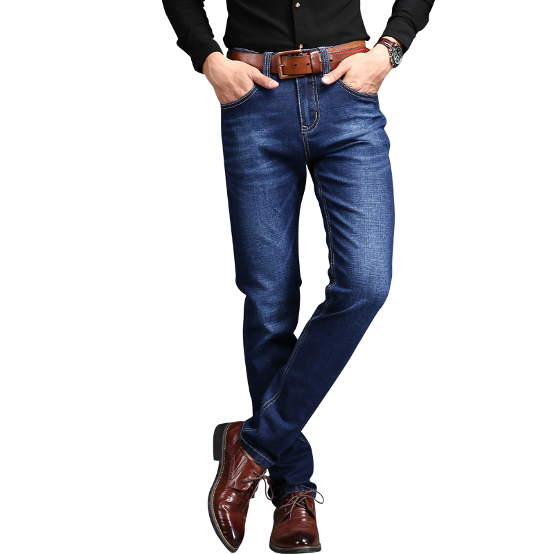 2017 Brand Plus Size Men's Jeans Men Pants Slim Stretch Mens Pants Blue Cat Whisker Men's Jeans For Size 42 men s cowboy jeans fashion blue jeans pant men plus sizes regular slim fit denim jean pants male high quality brand jeans