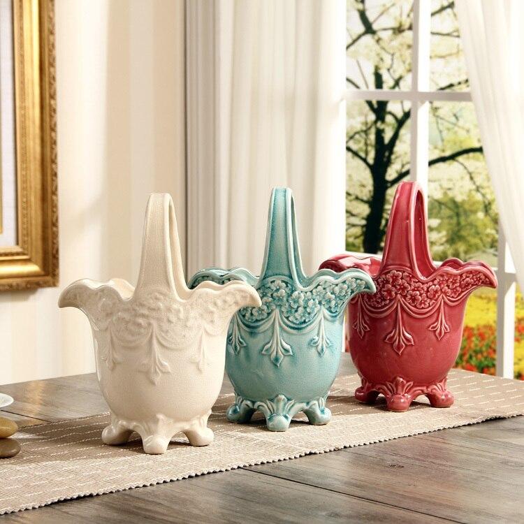 Vintage en céramique Relief sculpture fleur panier décoratif poterie plante baignoire ustensile ornement artisanat accessoires pour chambre et jardin