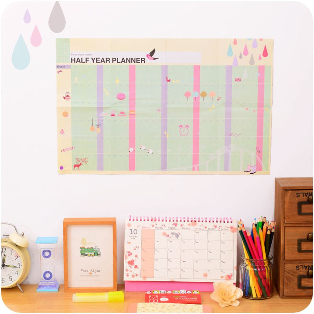 Half Year Planner Calendar Study Pace Marker Learning Working Plan Table ...
