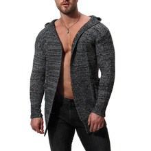 MarKyi 2018 new cardigan men fashion sweater hooded knitted good quality atumn long mens cardigans