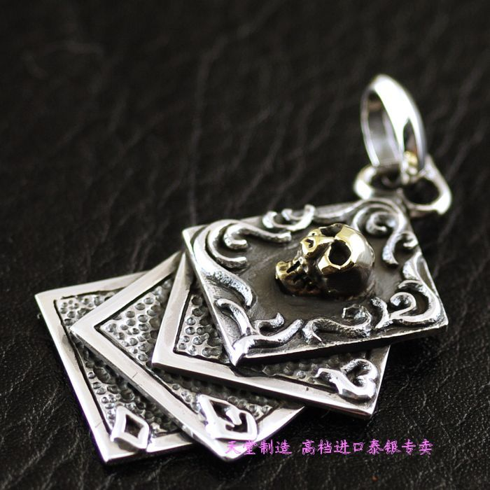 925 pure silver gold skull poker silver pendants цена 2017