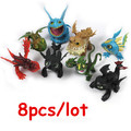 8pcs/set Anime How to Train Your Dragon 2 Action Figure Toys Night Fury Toothless Gronckle Deadly Nadder Dragon Toys for Boys