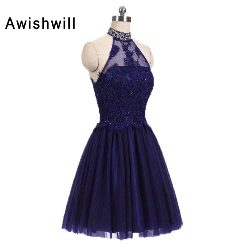Customized New Years   Cocktail     Dresses   Halter Sleeveless Tulle With Beadings Open Back A-line Short Party   Dress   Evening Gowns