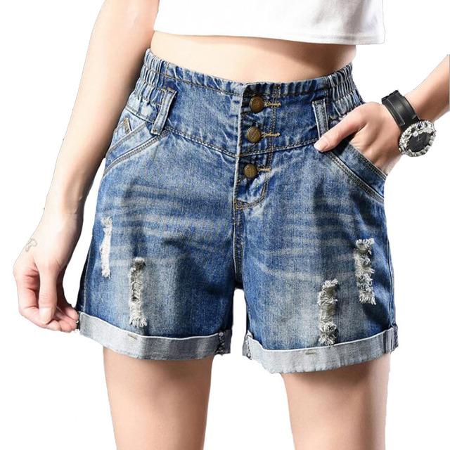 Washed Casual Shorts Para Mujer Plus Size Verano Nuevos Puños Agujero flojo de Talle Alto Denim Shorts Cintura Elástico Coreana Blanqueado Ripped