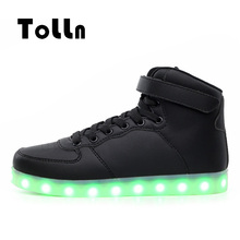 2016 LED Glowing Shoes Men Casual Shoes Fashion 3 Colors High-Top LED Luminous Men Shoes LED Trainers Simulation Krasovki Mens