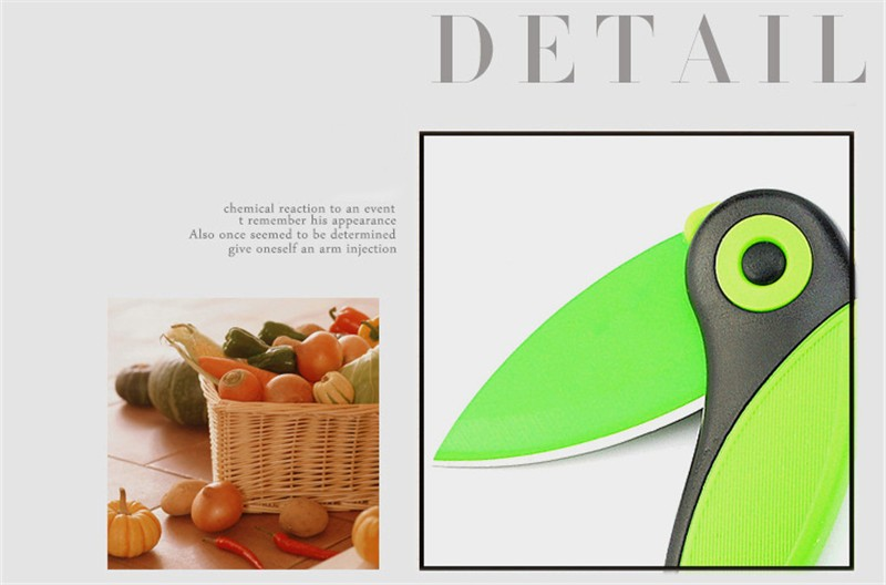 Jeslon Creative Fashion Portable Mini Bird Steel Knife Pocket Folding Knife Kitchen Fruit Paring Knife With Colourful ABS Handle