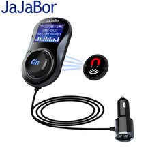 JaJaBor Bluetooth Car Kit Handsfree FM Transmitter A2DP Wireless Car MP3 Player LCD Screen Display+Aire Condition Clip Bracket(China)