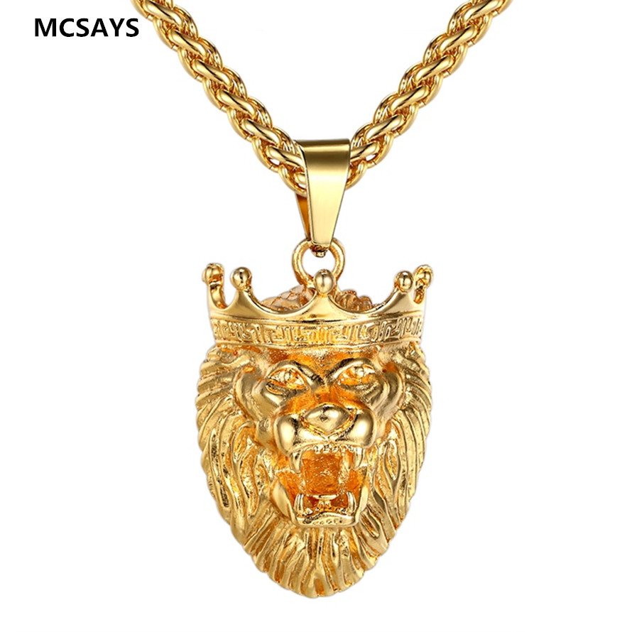 Online get cheap hip hop chains for sale aliexpress alibaba 2017 hot sale hip hop jewelry lion head iced out crown pendant necklace high quality gold aloadofball Images
