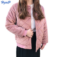 HziriP Fashion Women Winter Jacket 2017 Cotton Padded Thick Warm Velvet Parka Female Solid Casual Long